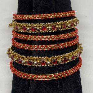 Set of 6 Red Stone and Gold Bangle Bracelets